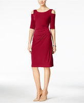 Connected Petite Ruched Cold-Shoulder Dress