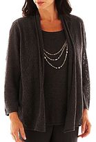 Alfred Dunner Avenue Louise Crochet Layered Sweater
