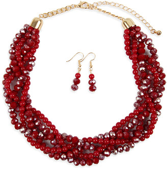 Riah Fashion Women's Earrings BURGUNDY - Burgundy Crystal & Goldtone Twist Beaded Statement Necklace Set