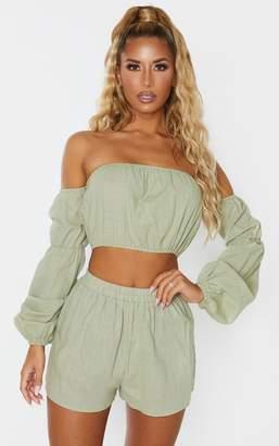 PrettyLittleThing Pale Khaki Linen Look Bardot Puff Sleeve Beach Top