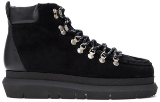 Sacai Black Suede Lace-Up Boots