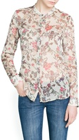 MANGO Outlet Pleated Chiffon Floral Blouse