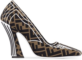 Fendi Tobacco Brown 105 logo print lycra wrapped leather pumps