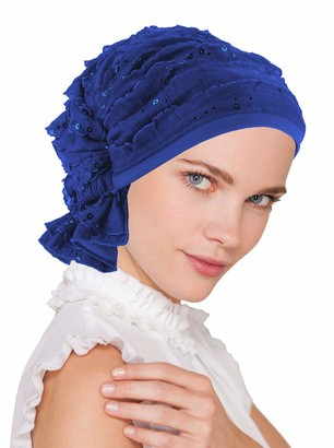 Turban Plus The Abbey Cap in Ruffle Fabric Chemo Caps Cancer Hats for Women - blue - One Size