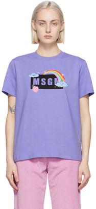 MSGM Purple Rainbow Logo T-Shirt