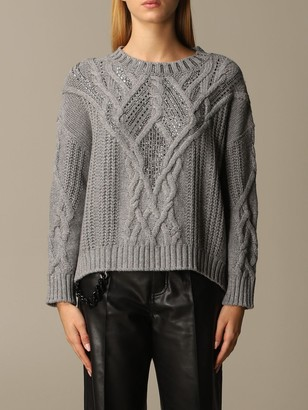 Ermanno Scervino Sweater Pullover In Cable-knit Wool And Cashmere With Rhinestones