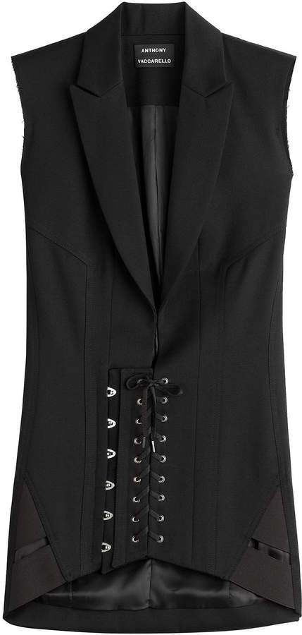 Anthony Vaccarello Wool Corset Blazer Dress