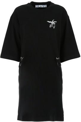 Off-White Birds Drawstring T-Shirt Dress
