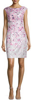 Kay Unger New York Cap-Sleeve Floral-Printed Cocktail Sheath Dress