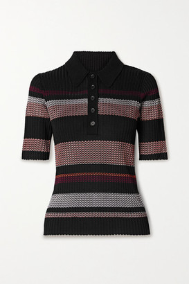 Proenza Schouler Striped Ribbed-knit Polo Shirt - Black