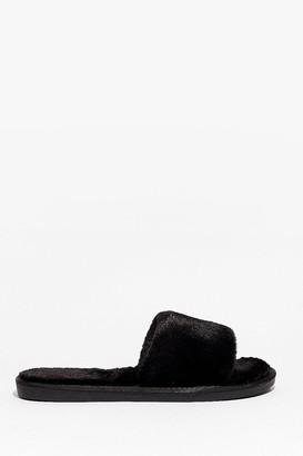 Nasty Gal Womens Feelin' This Faux Fur Slippers - Black - 3