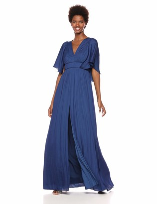 Halston Women's Cape Sleeve V Neck Flowy Pleated Gown