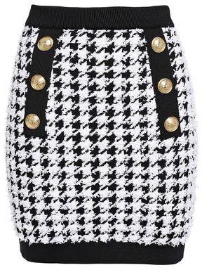 Balmain Button-embellished Houndstooth Tweed Mini Skirt
