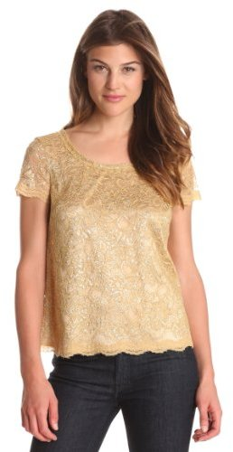 Jones New York Women's Short Sleeve Lace Blouse