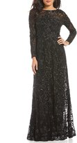 David Meister Embroidered Dot Sequin Gown