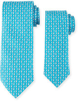 Salvatore Ferragamo Father & Son Bunny with Balloon Silk Tie Set, Turquoise