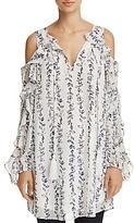 Aqua Ruffled Cold-Shoulder Vine Print Dress - 100% Exclusive