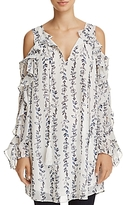 Aqua Ruffled Cold-Shoulder Vine Print Tunic - 100% Exclusive