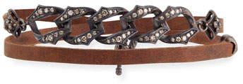 Armenta Old World Midnight Leather Link Bracelet with Diamonds