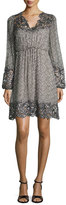 Elie Tahari Tally Long-Sleeve Lace-Trimmed Printed Dress, Multi