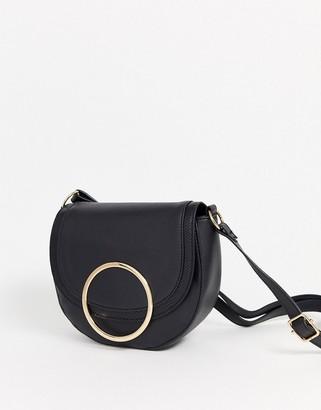 Lipsy ring detail cross body bag in black