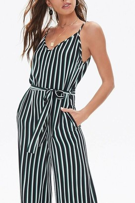 Forever 21 Belted Striped Jumpsuit