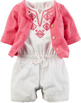 Carter's 2-pc. Flutter-Sleeve Romper and Cardigan Set - Baby Girls newborn-24m