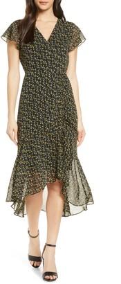 Sam Edelman Side Ruched Chiffon Midi Dress