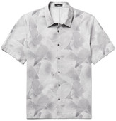 Theory Printed Cotton And Linen-blend Shirt - Gray