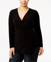 Anne Klein Plus Size Asymmetrical Wrap Top