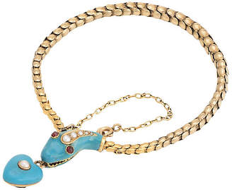 One Kings Lane Vintage 18K Victorian Gold Snake Bracelet - Sophie Jane Jewels
