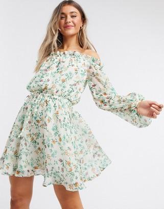 ASOS DESIGN off shoulder mini dress in ditsy floral print