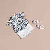 Burberry Short-sleeved Wave Print Cotton Shirt