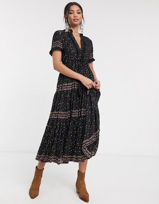 Free People rare feeling maxi dress-Black