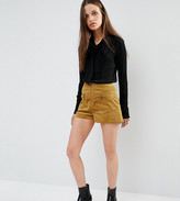 Glamorous Petite High Waisted Corduroy Shorts With Zip Detail