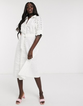 ASOS DESIGN broderie midi shirt dress with puff sleeves and d-ring belt in white