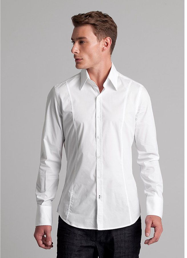 GUESS by Marciano Slim Woven Two-Button Collar Shirt