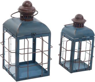 Transpac Set Of 2 Metal Blue Spring Retro Lanterns