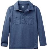 Tea Collection Denim-Ike Long Sleeve Polo Shirt (Toddler & Little Boys)