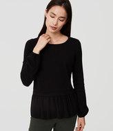LOFT Petite Mixed Media Peplum Sweater