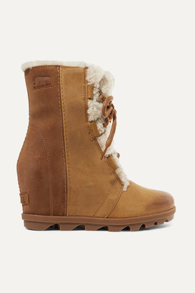 Sorel Joan Of Arctic Wedge Ii Shearling-trimmed Waterproof Leather And Suede Ankle Boots - Light brown