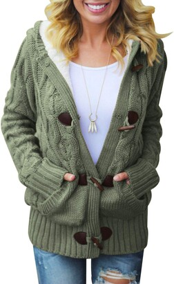 Jolicloth Womens Casual Long Sleeve Button Down Knitwear Coatigan Chunky Cable Cardigan with Pockets Hooded Sweater Duffelcoat Outerwear Christmas Green UK 12