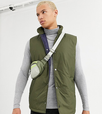 ASOS DESIGN Tall puffer gilet in khaki