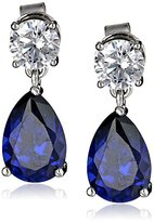 Crislu Platinum Plated Sterling Silver Cubic Zirconia Sumptuous Sapphire Earrings