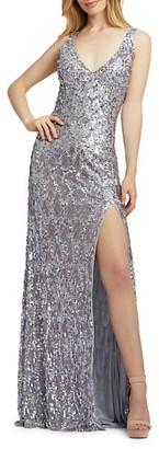 Mac Duggal Sequin-Embellished Column Gown