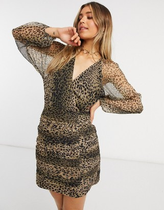 Stevie May new light long sleeve mini dress in leopard