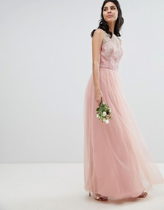 Chi Chi London Sleeveless Maxi Dress with Premium Lace and Tulle Skirt-Pink