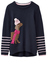 Joules Little Joule Girls' Dog Intarsia Knitted Jumper, Navy