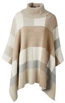 Classic Women's Plus Size Wool Blend Cowl Cape-Coal/Light Gray Space Dye