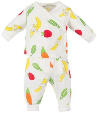 Under the Nile Muslin two piece side snap top and pant set - fruit and veggie print - 3-6M